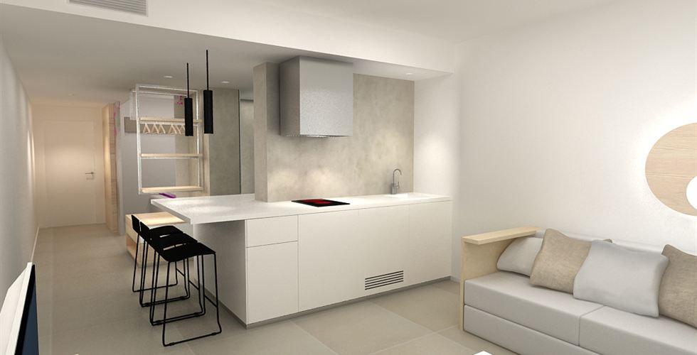 Impressie van de keuken/kitchenette in een van de suites