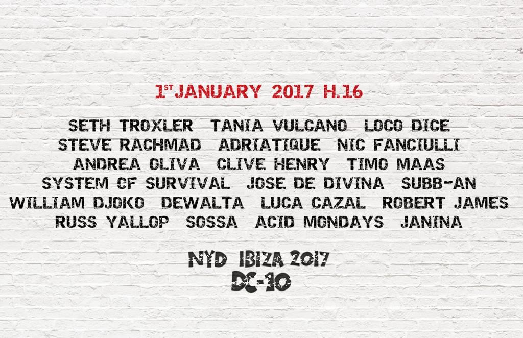 Circoloco NYD Ibiza 2017 in DC-10 -Lineup