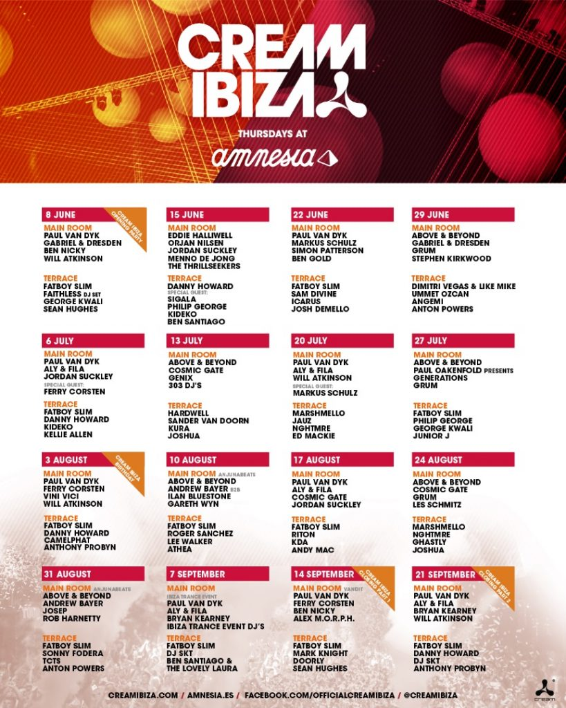 Cream Ibiza 2017 - Every thursday at Amnesia