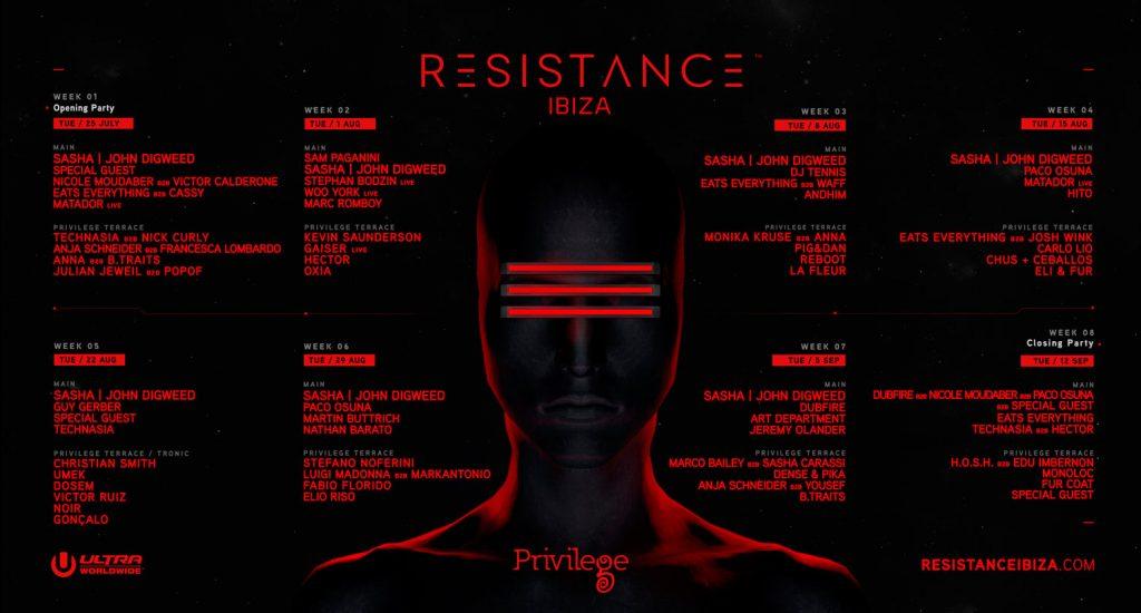 Resistance - Privilege Ibiza Tuesdays lineup